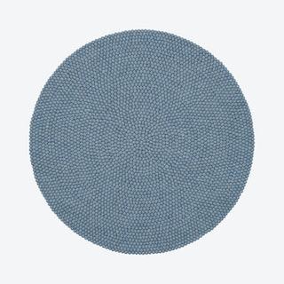Round Mia Felt Ball Rug in Light Blue