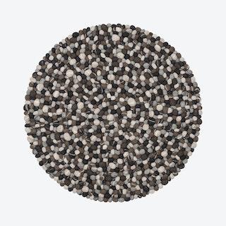 Round Hardy Felt Ball Rug in Stone