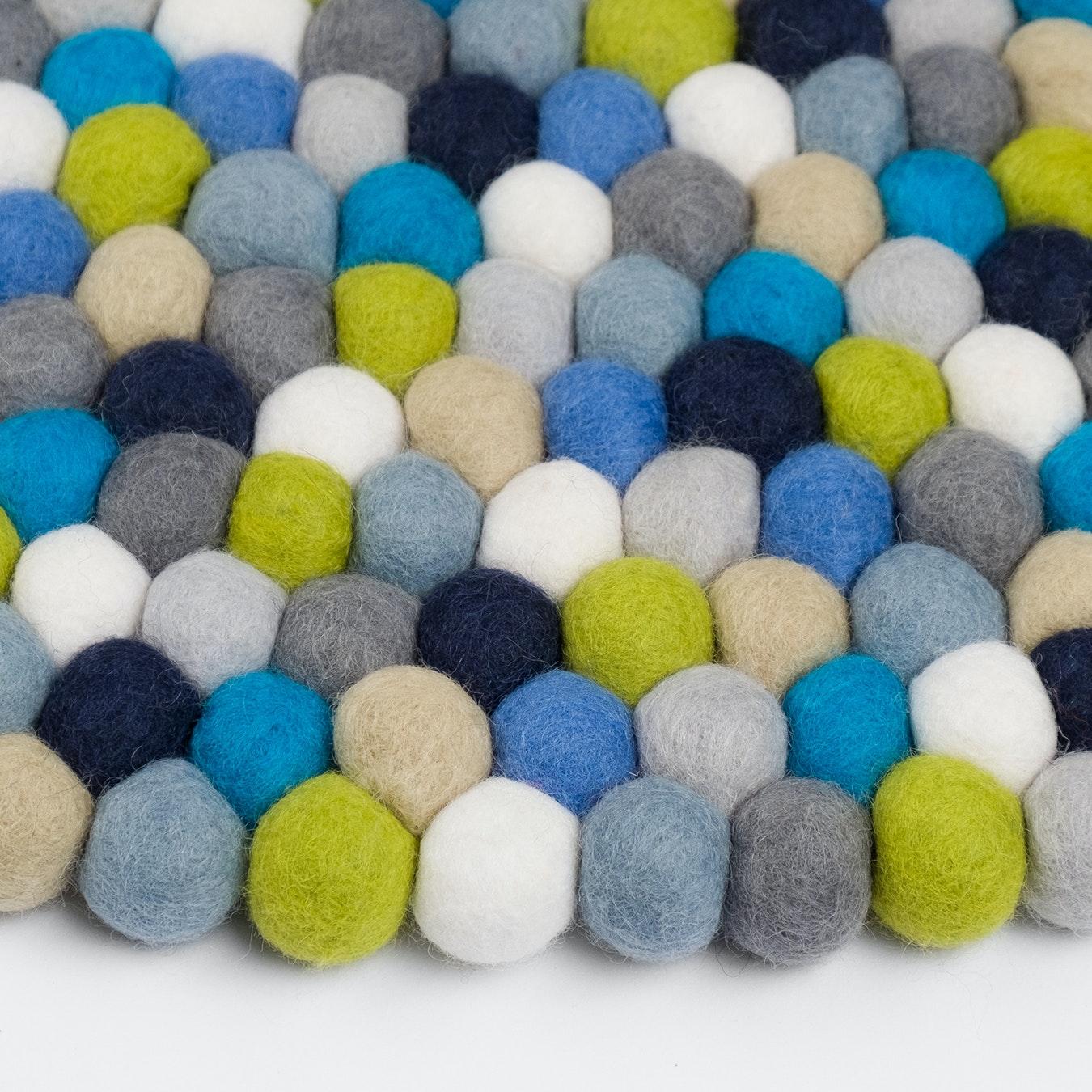 Round Fritz Felt Ball Rug In Blue Green