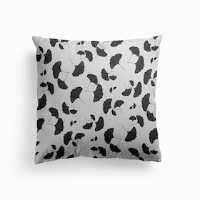 Ginkgo Leaf Black And White Ii Cushion