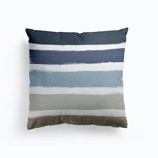 Blue And Taupe Stripes Cushion