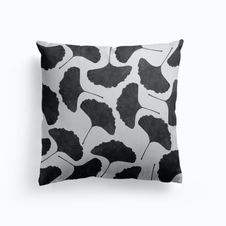 Ginkgo Leaf Black And White I Cushion