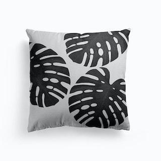 Monstera Leaf Black And White Iii Cushion