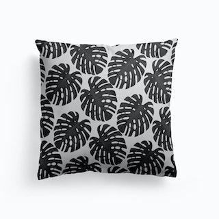 Monstera Leaf Black And White Ii Cushion