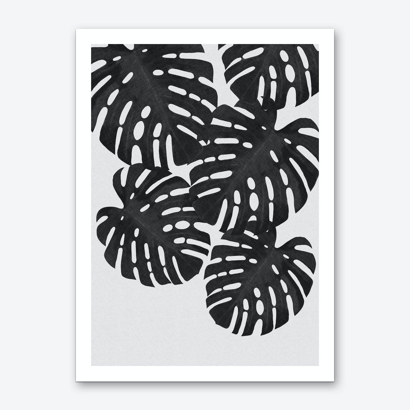 Monstera Leaf Black & White I Art Print