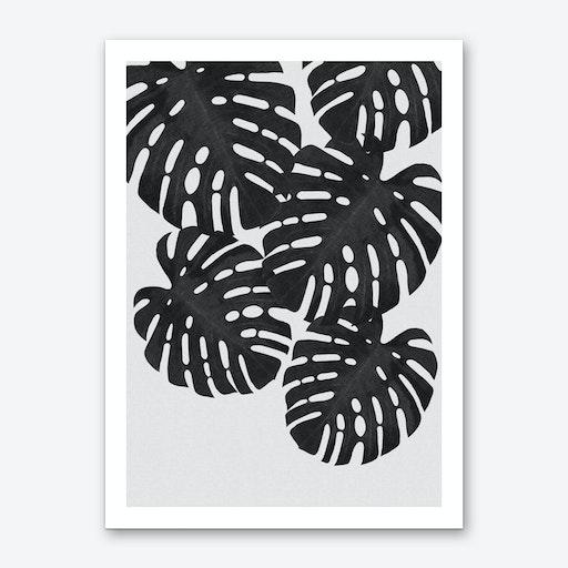 Monstera Leaf Black & White I Art Print