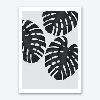 Monstera Leaf Black & White III Art Print