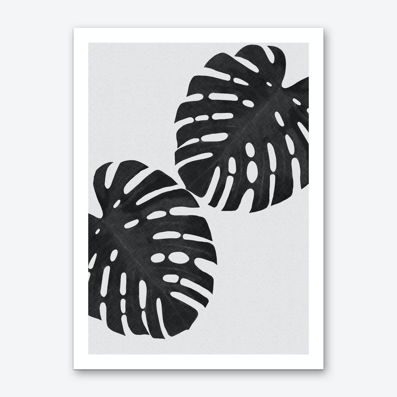 Monstera Leaf Black & White V Art Print