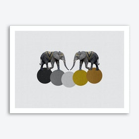 Tribal Elephants Art Print