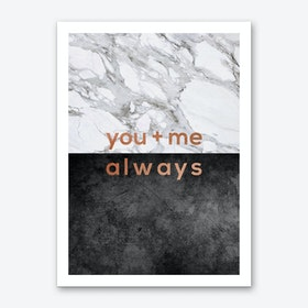 You & Me Always Copper Art Print