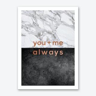 You & Me Always Copper Art Print