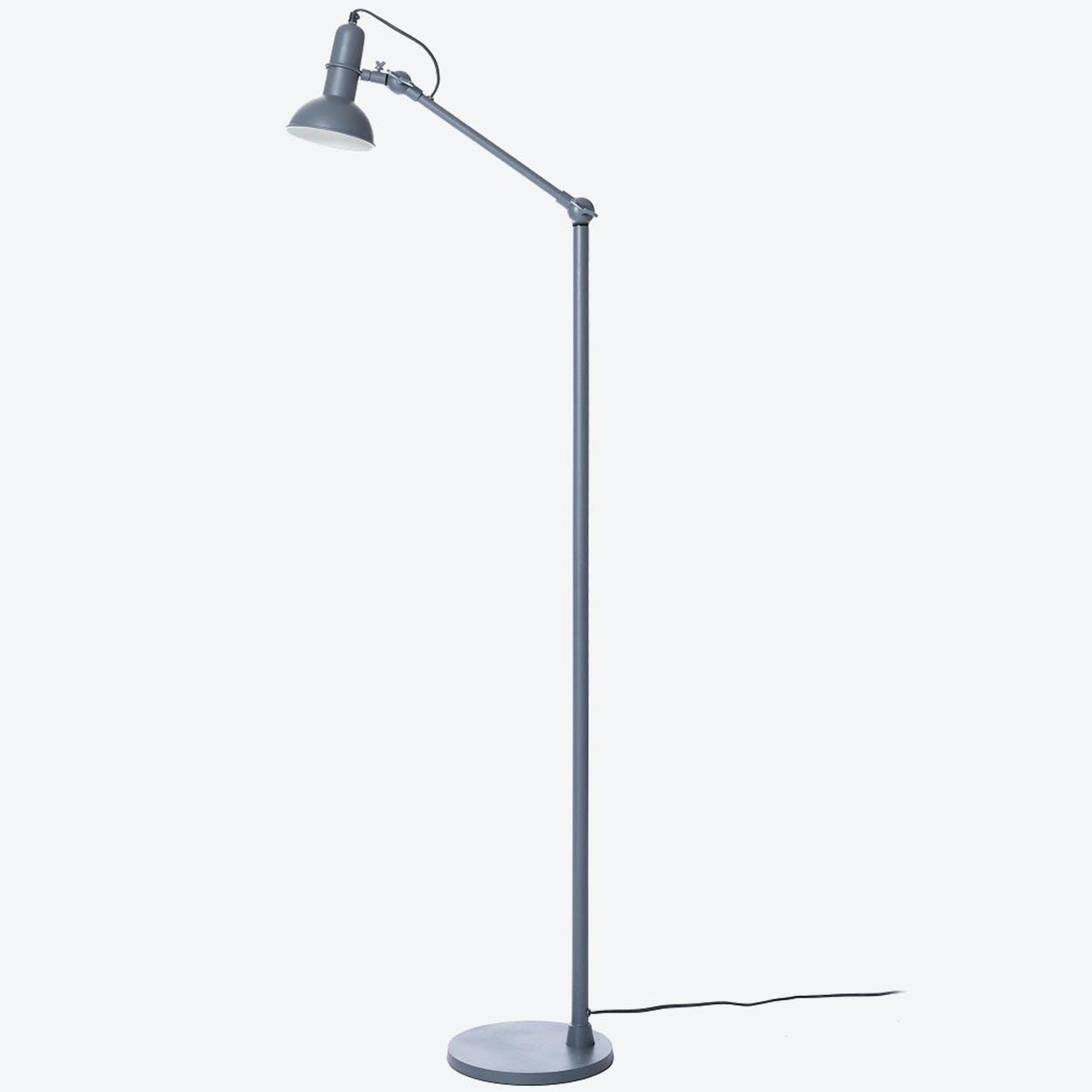 """Floor Lamp One-Arm """"Indu"""" in Sandpaper Grey"""