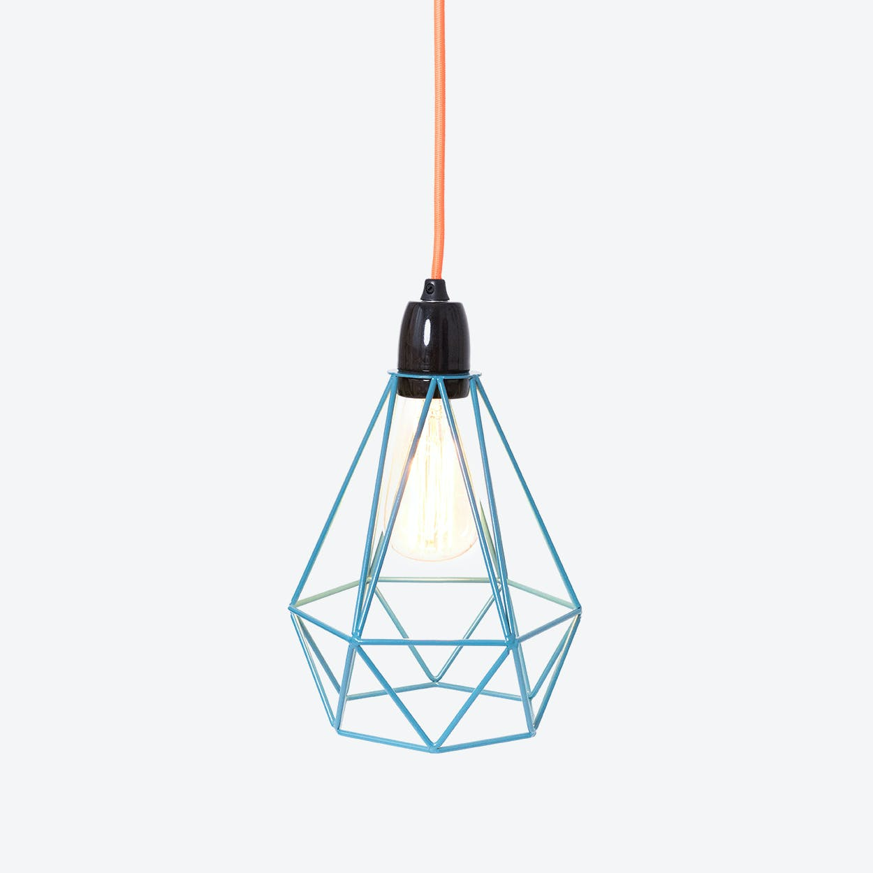 Industrial Pendant Light Diamond in Blue with Orange Cord