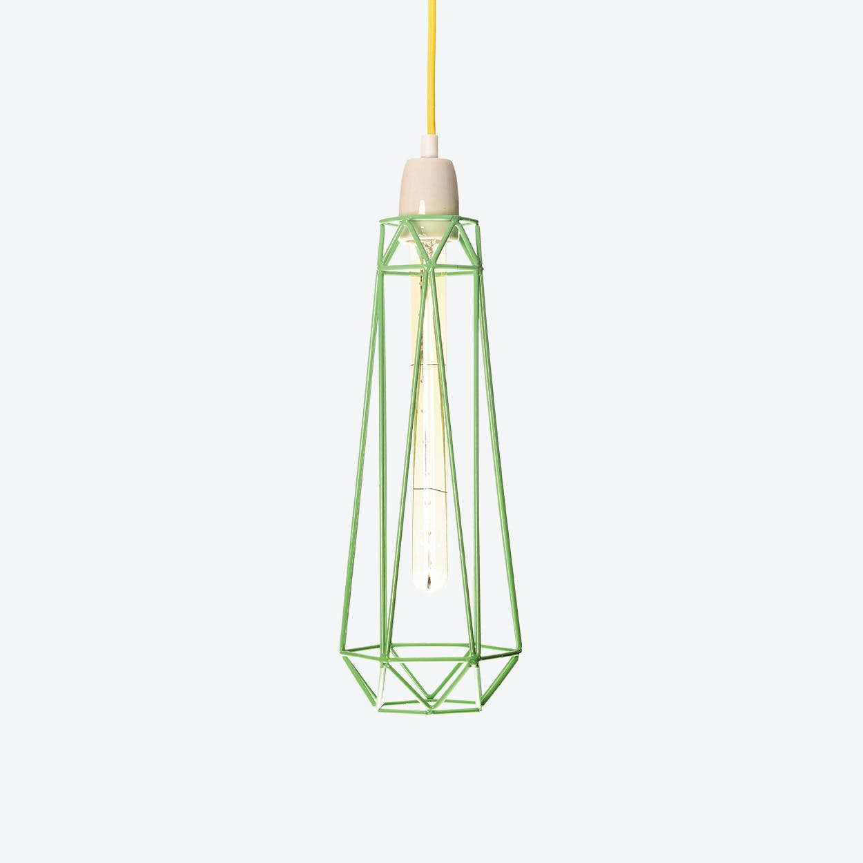 Industrial Pendant Light Slim Diamond in Mint Blue with Yellow Cord