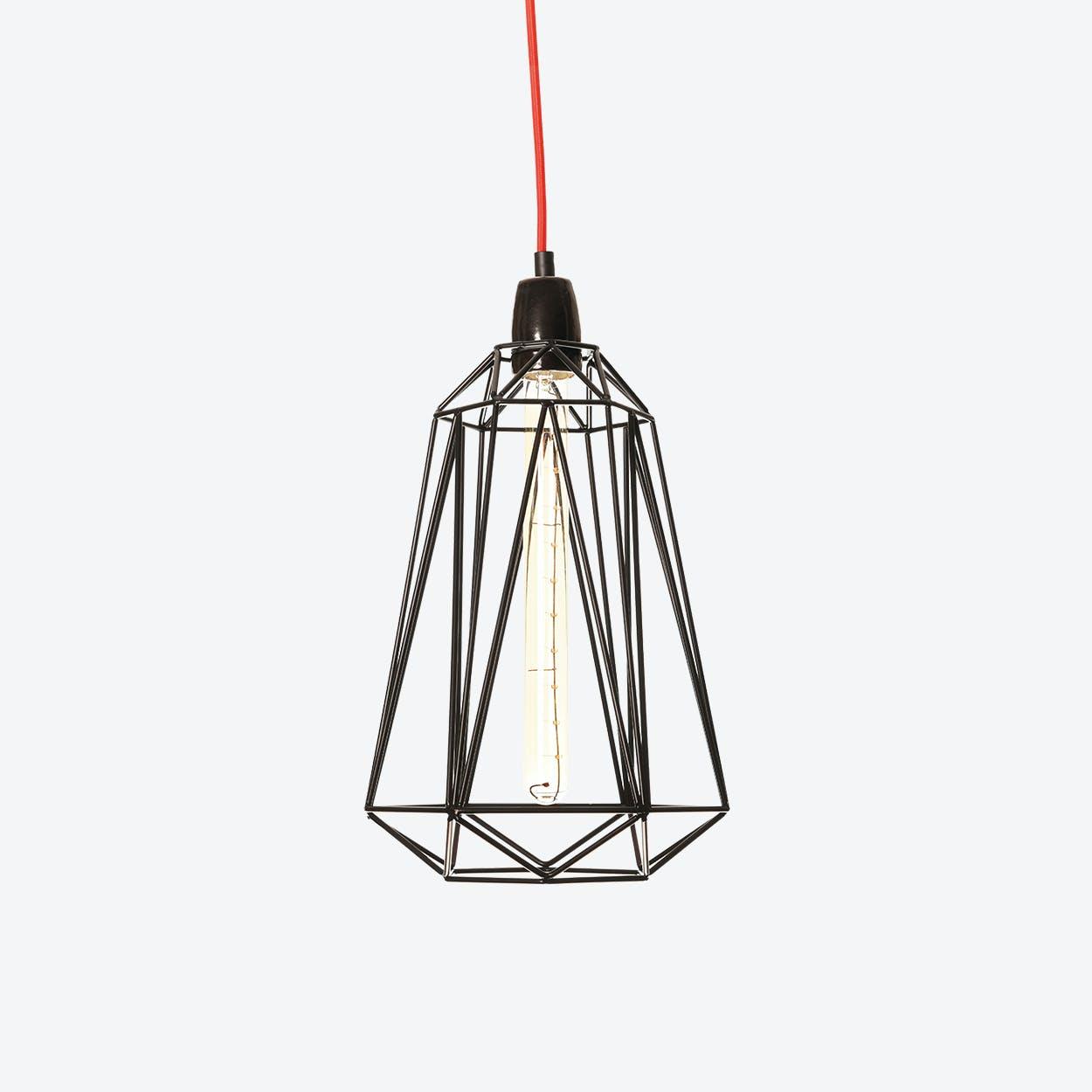 Industrial Pendant Light Medium Diamond in Black with Red Cord