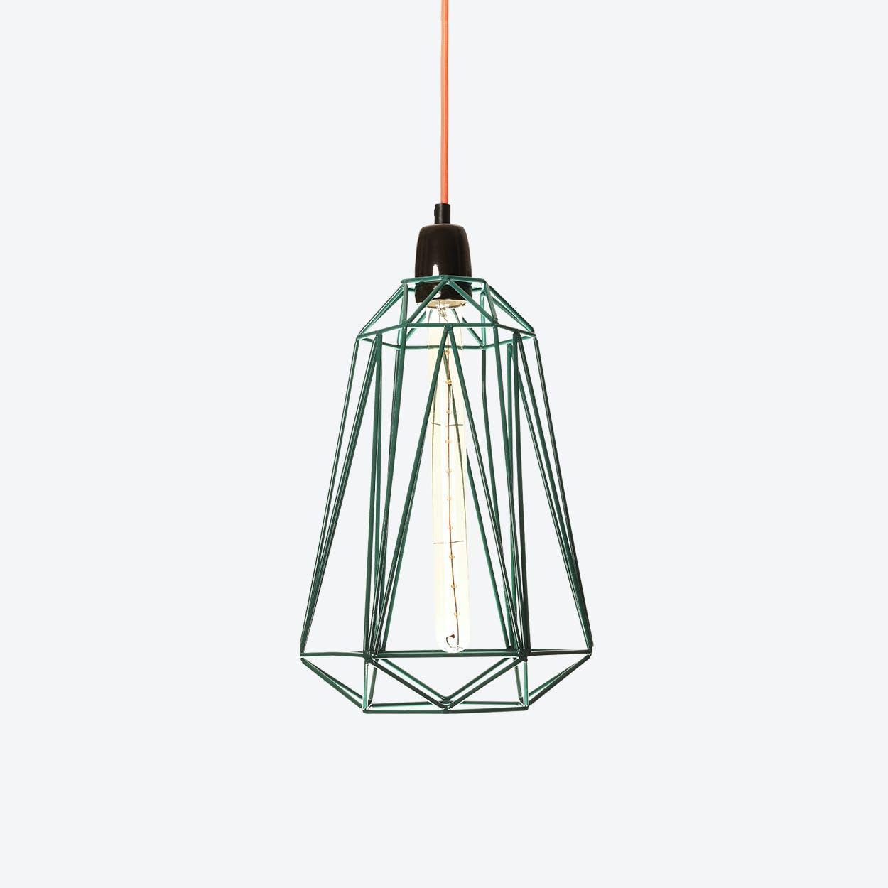 Industrial Pendant Light Medium Diamond in Blue with Orange Cord