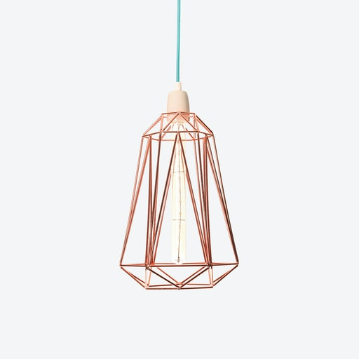 Industrial Pendant Light Medium Diamond in Copper with Blue Cord