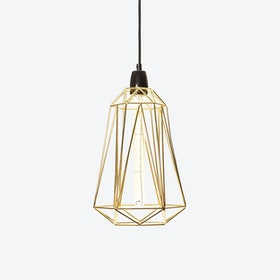 Industrial Pendant Light Medium Diamond in Gold with Black Cord