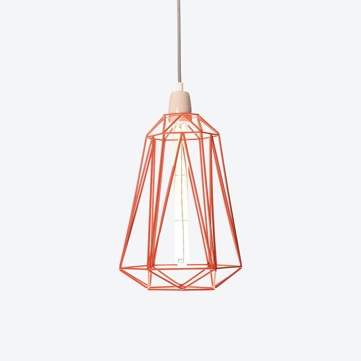 Industrial Pendant Light Medium Diamond in Orange with Grey Cord