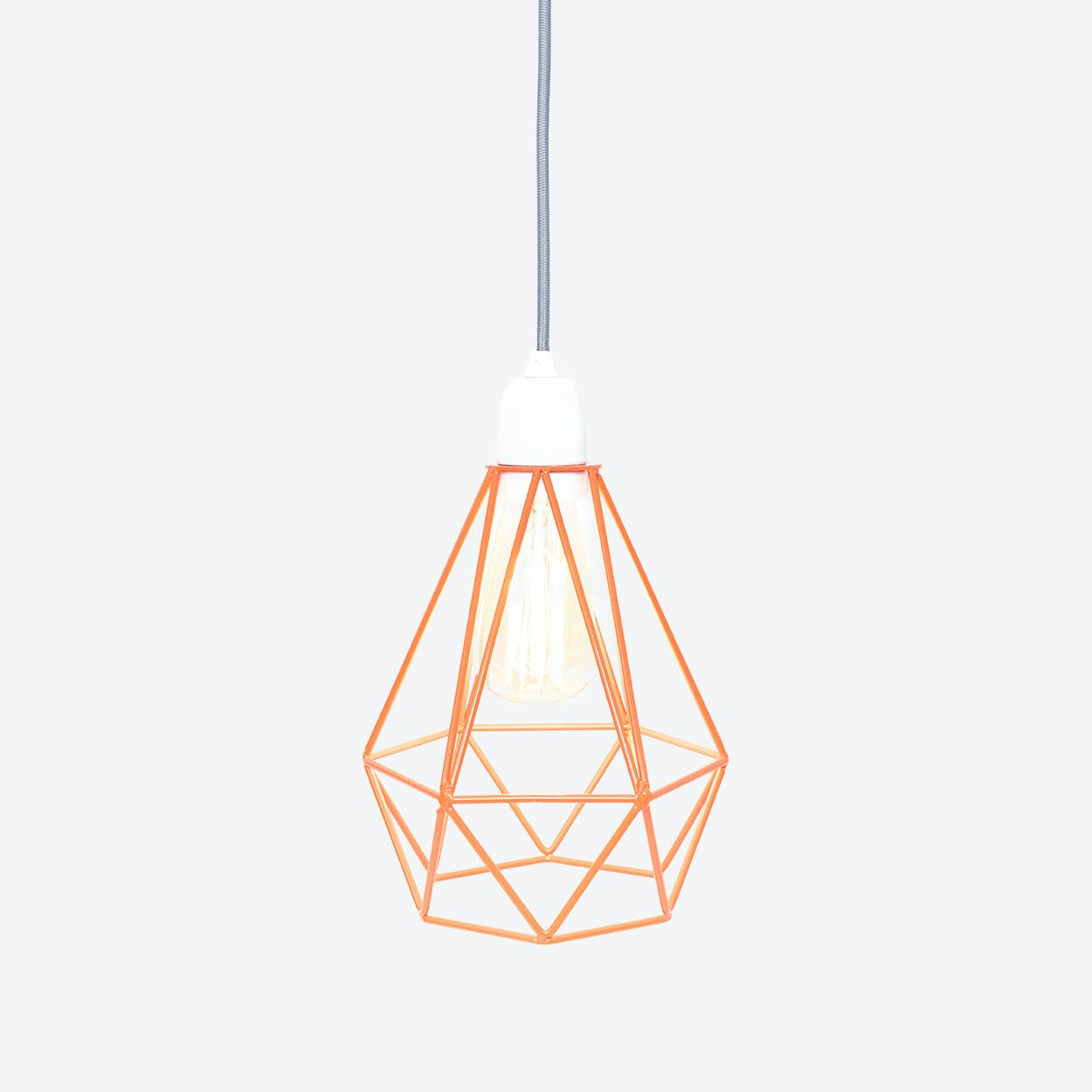 Industrial Pendant Light Diamond in Orange with Grey Cord