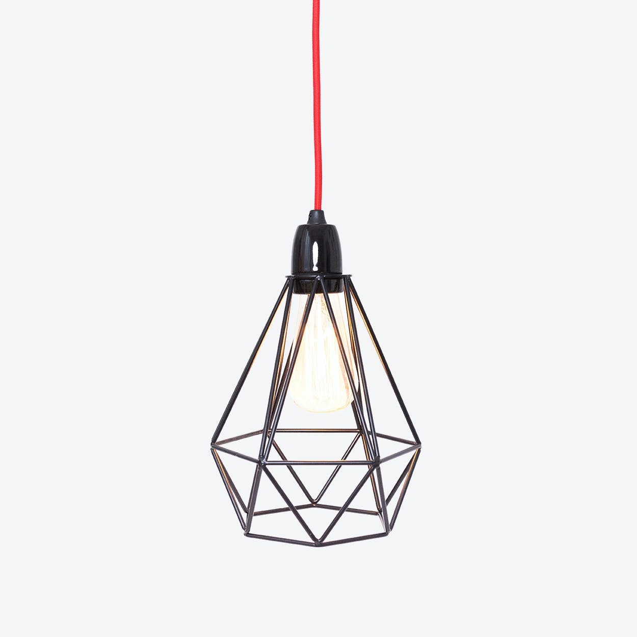 Industrial Pendant Light Diamond in Black with Red Cord