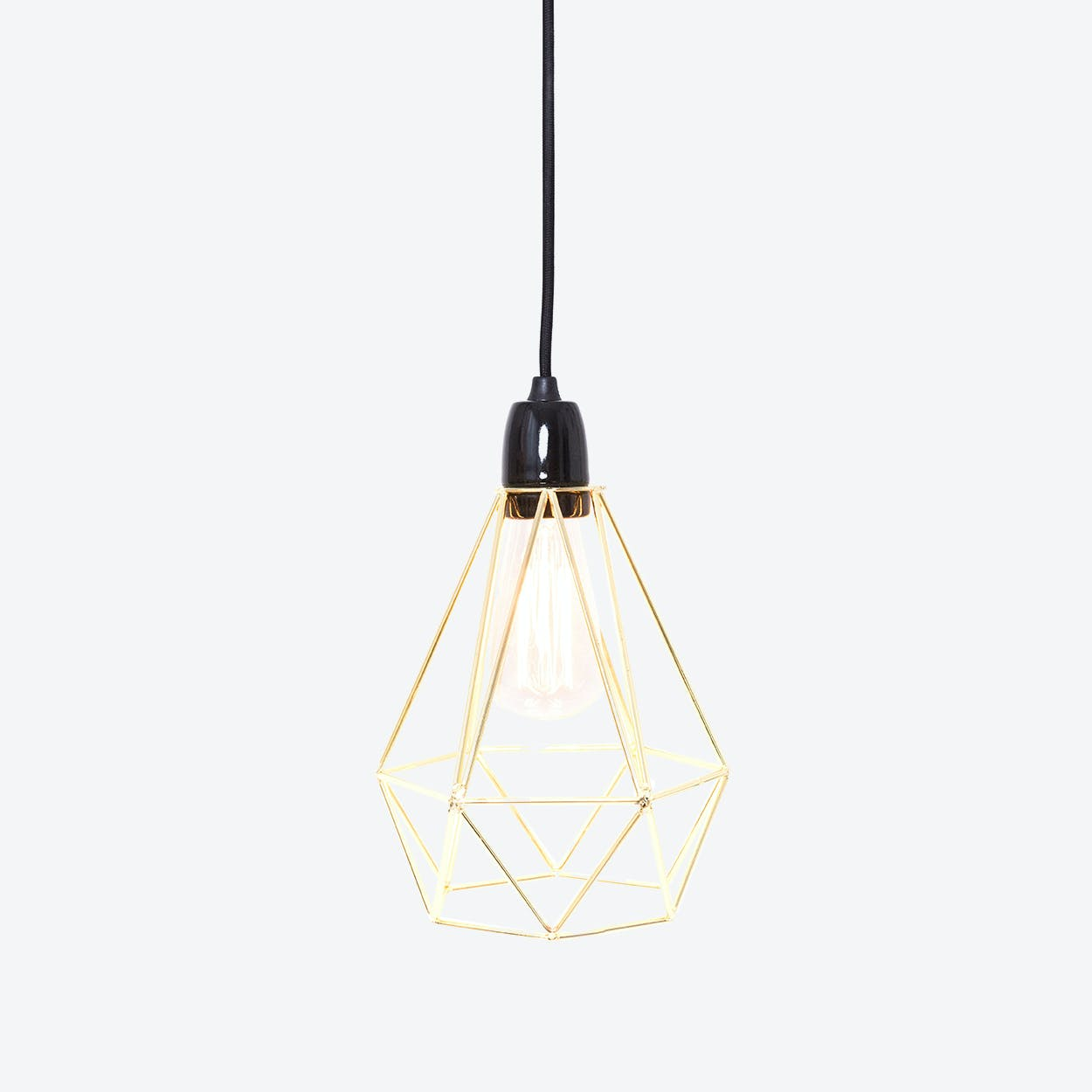Industrial Pendant Light Diamond in Gold with Black Cord