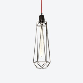 Industrial Pendant Light Slim Diamond in Black with Red Cord