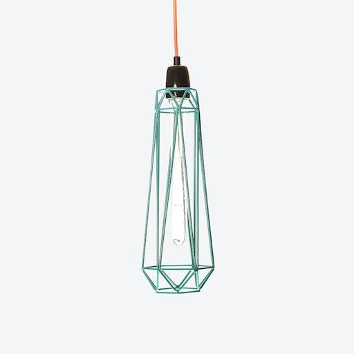 Industrial Pendant Light Slim Diamond in Blue with Orange Cord