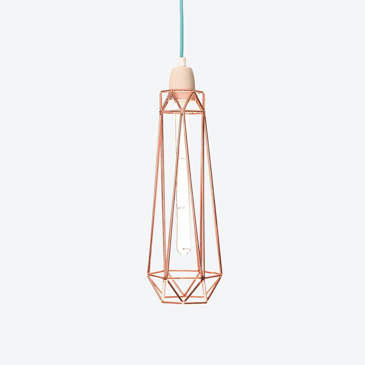 Industrial Pendant Light Slim Diamond in Copper with Blue Cord