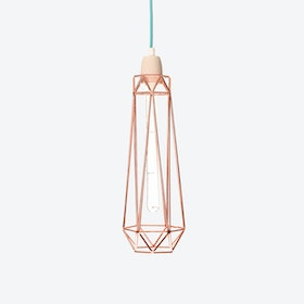 Industrial Pendant Light Slim Diamond in Copper with Blue Cord