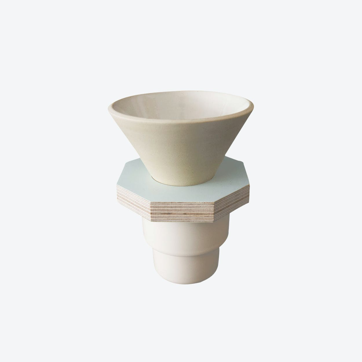 Ceramic Dripper in Beige and Lighr Blue Plywood