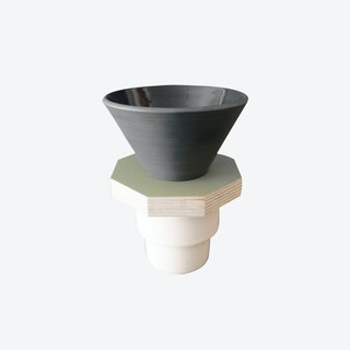 Ceramic Dripper in Dark Gray and  Green Plywood