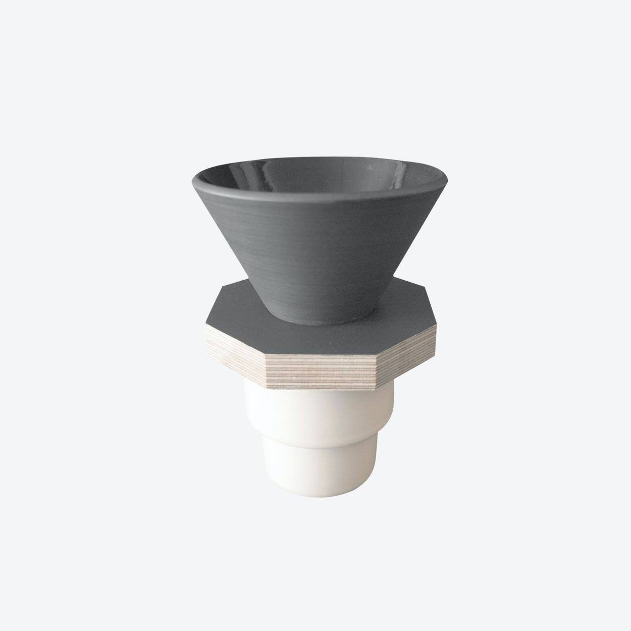 Ceramic Dripper in Dark Gray and  Gray Plywood