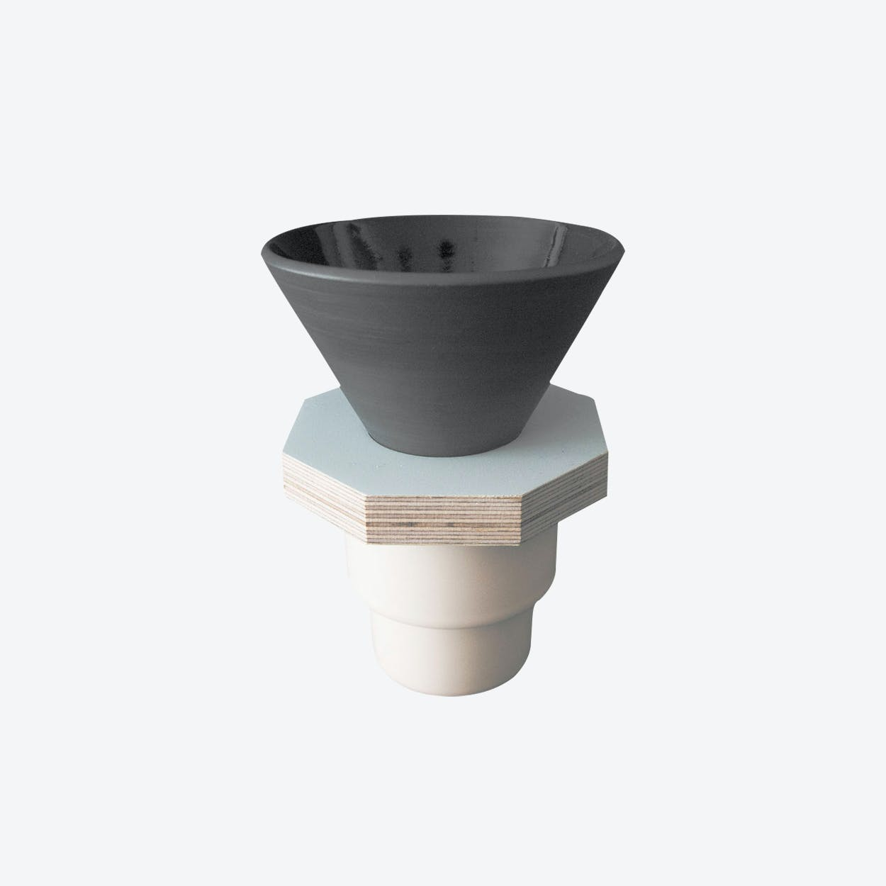 Ceramic Dripper in Dark Gray and  Light Blue Plywood