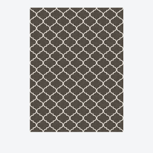 Trellis Gate Rug in Rich Grey & White