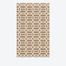 Modern Fretwork Rug in Rich Tan & White