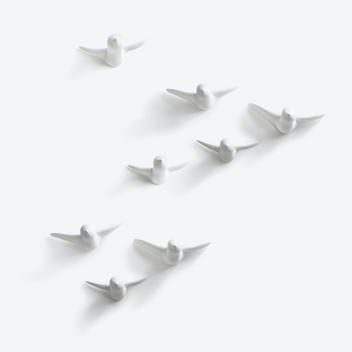 Ceramic Birds Wall Decoration in Large White - 8Pcs