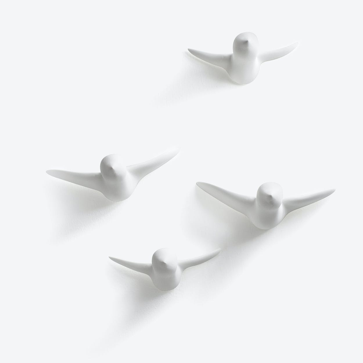 Ceramic Birds Wall Decoration in Small White - 4Pcs