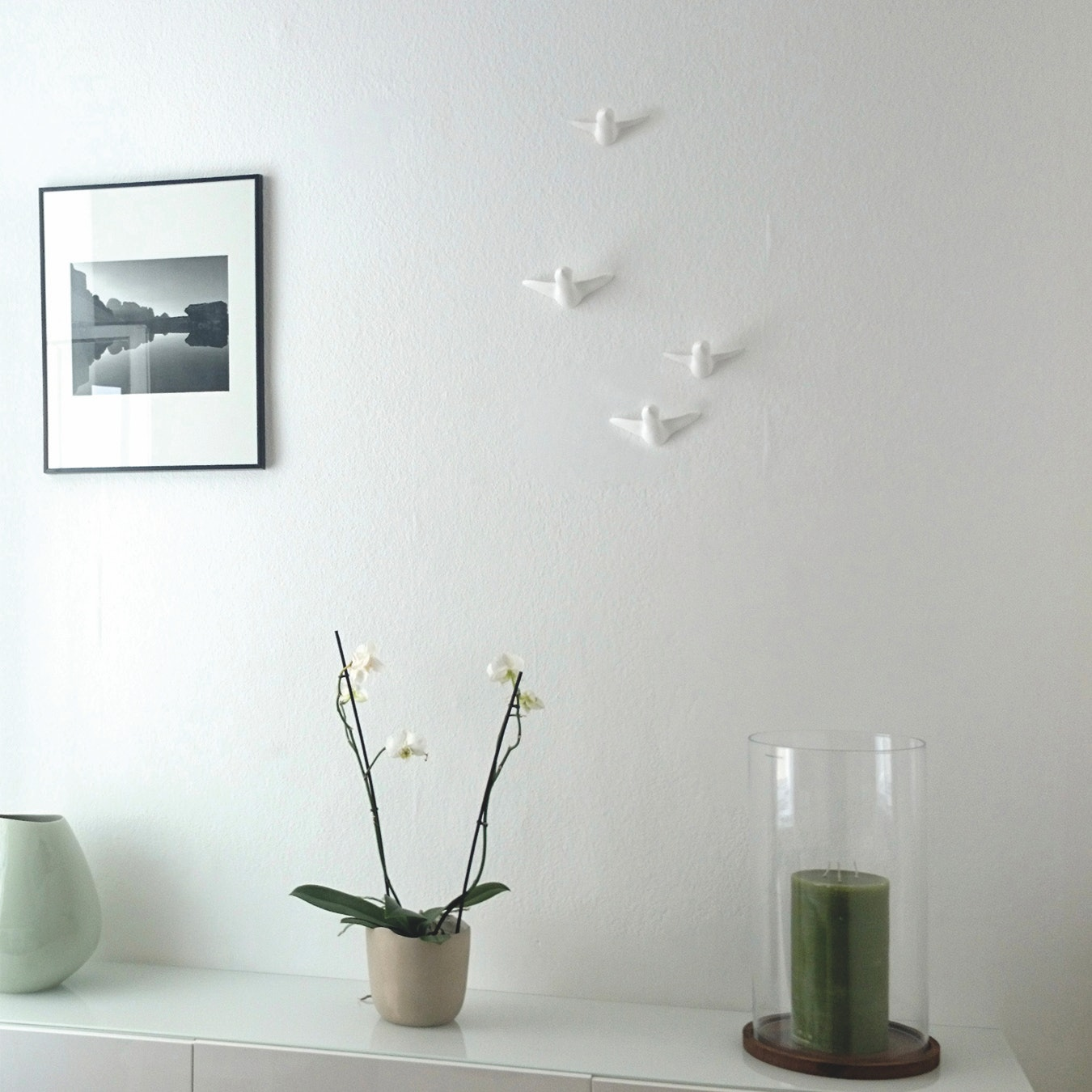 Ceramic Birds Wall Decoration In Small White 4pcs