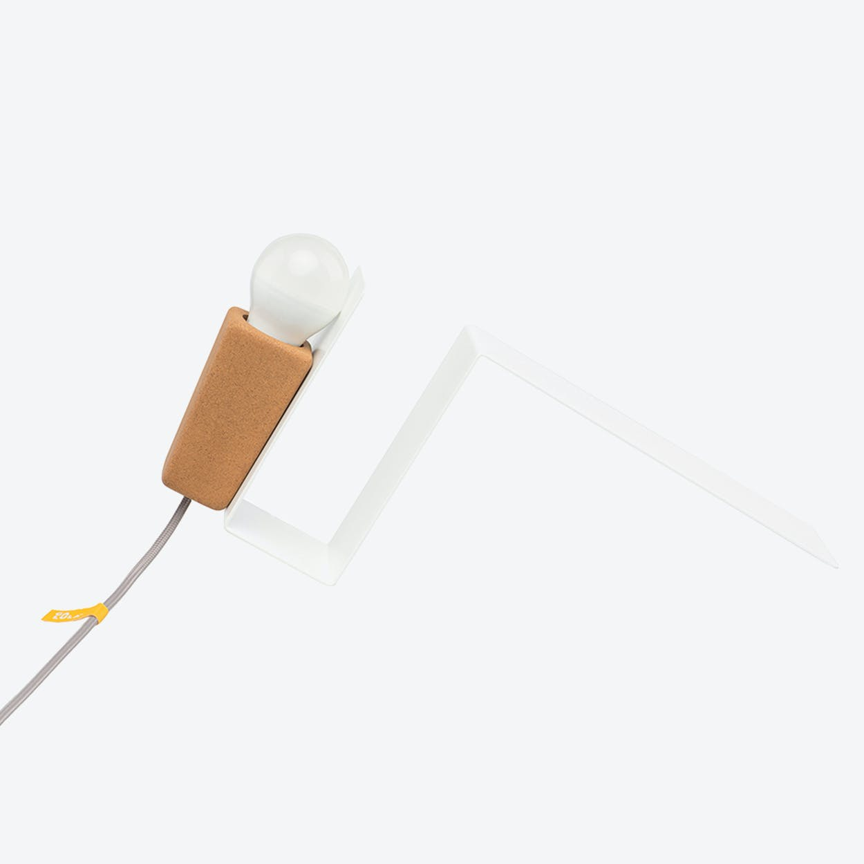 Glint Desk Lamp #1 in White Base & Grey Wire