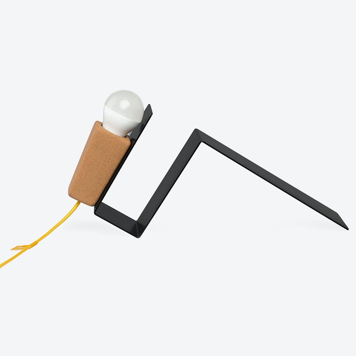 Glint Desk Lamp #1 in Black Base & Yellow Wire
