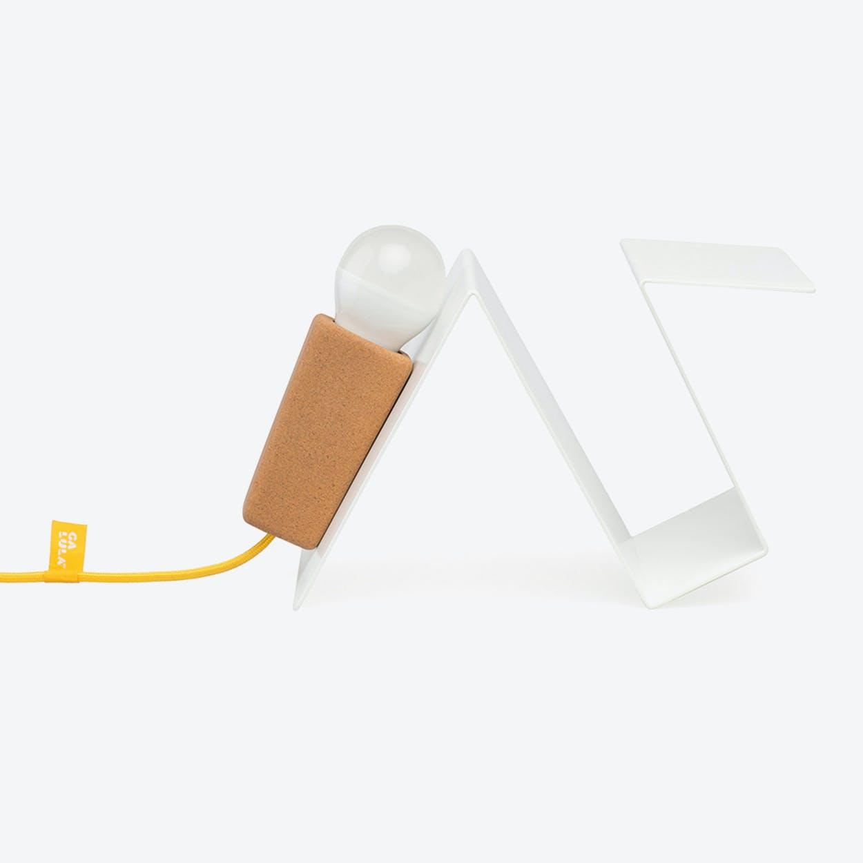 Glint Desk Lamp #3 in White Base & Yellow Wire