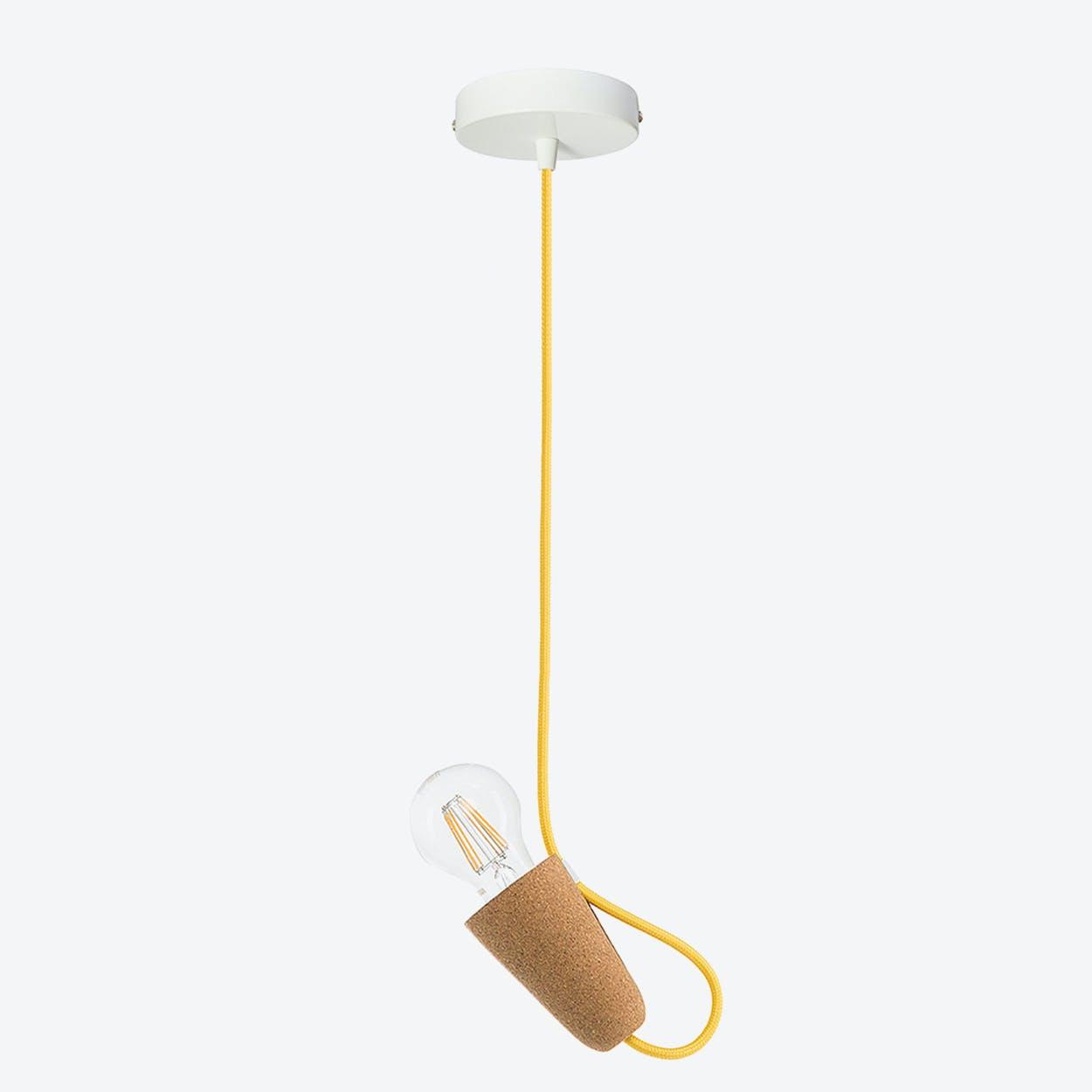 Sininho Pendant Lamp in Light Cork & Yellow