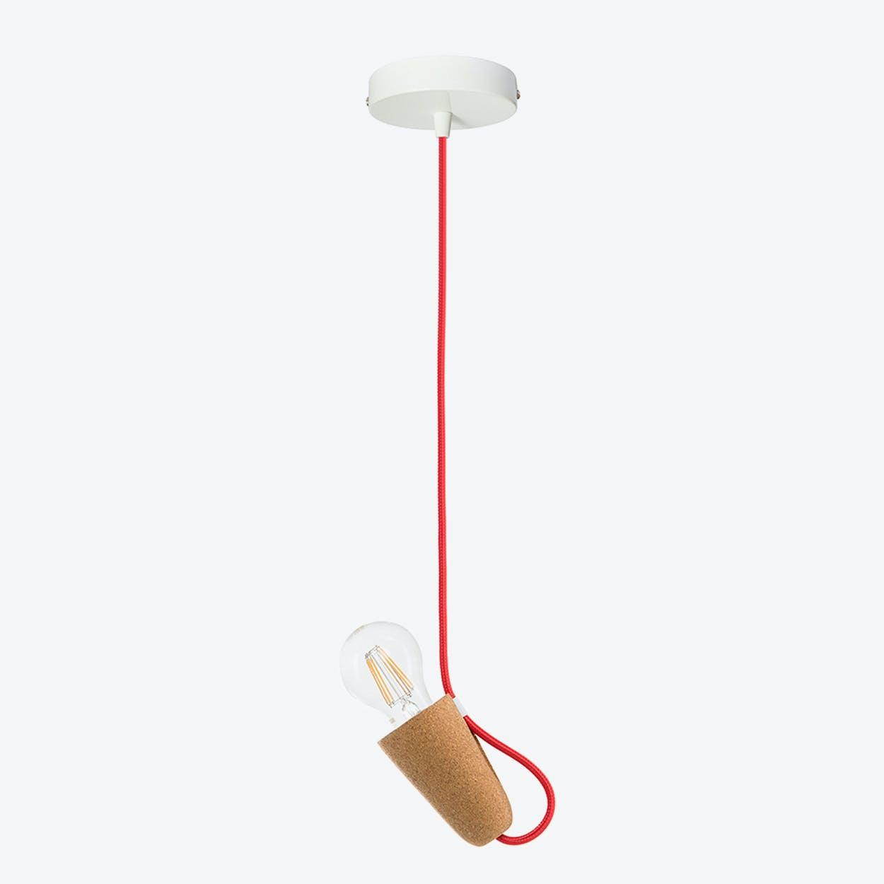 Sininho Pendant Lamp in Light Cork & Red