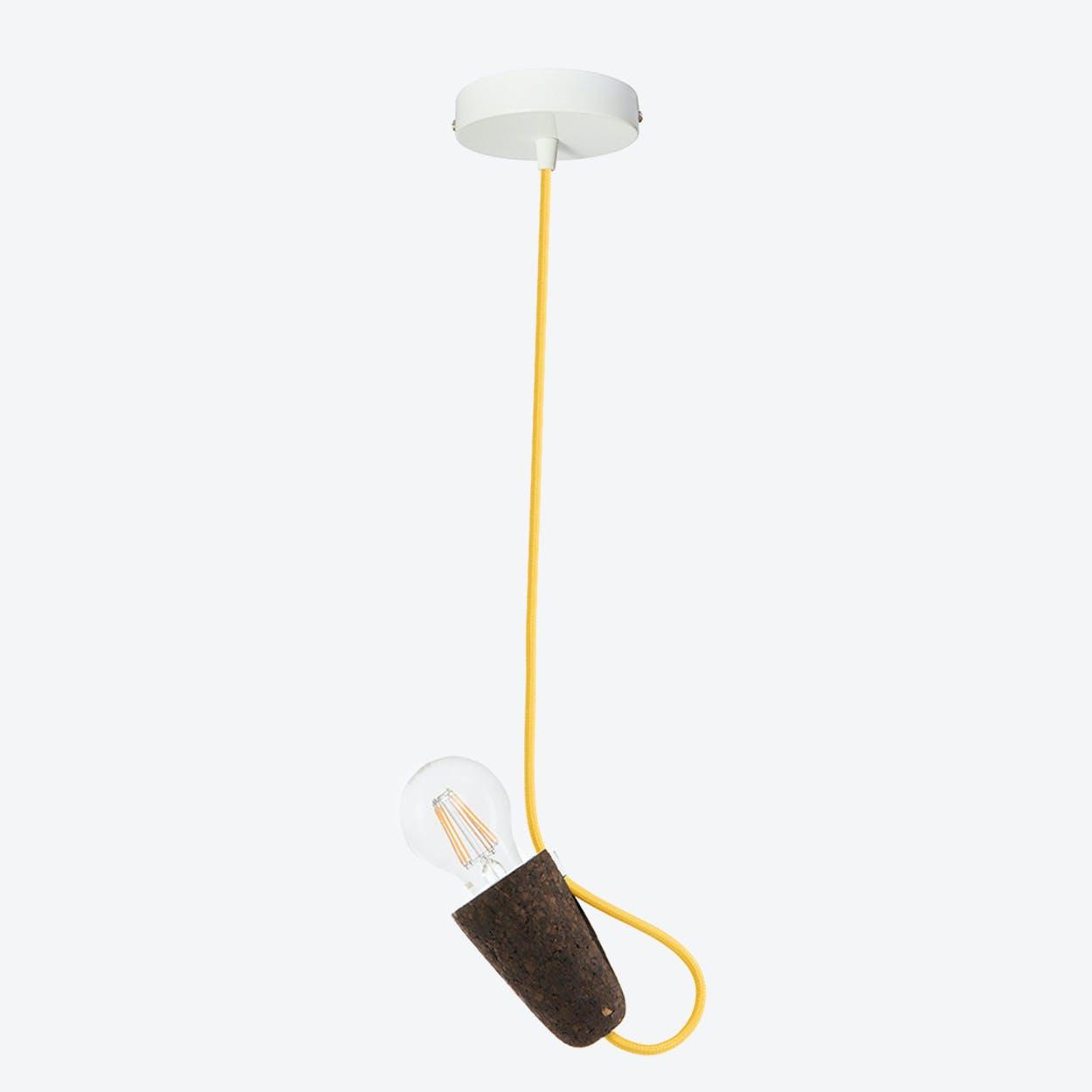 Sininho Pendant Lamp in Dark Cork & Yellow
