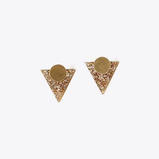 Mars Sunrise Earrings in Gold Glitter