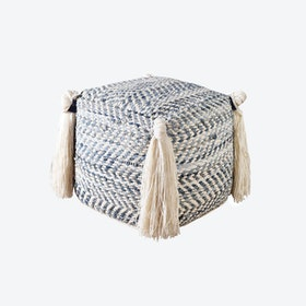 HARDIN Pouf in White/Blue (40x40x40)