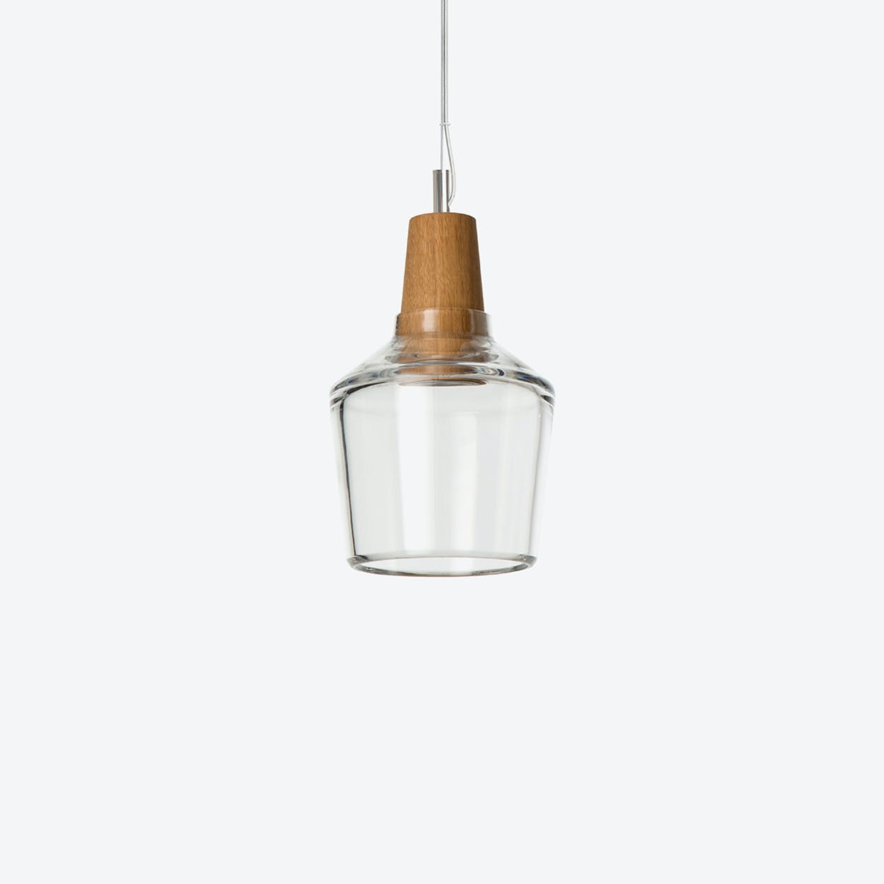 Industrial Pendant Light Ø15 in Clear Crystal Glass