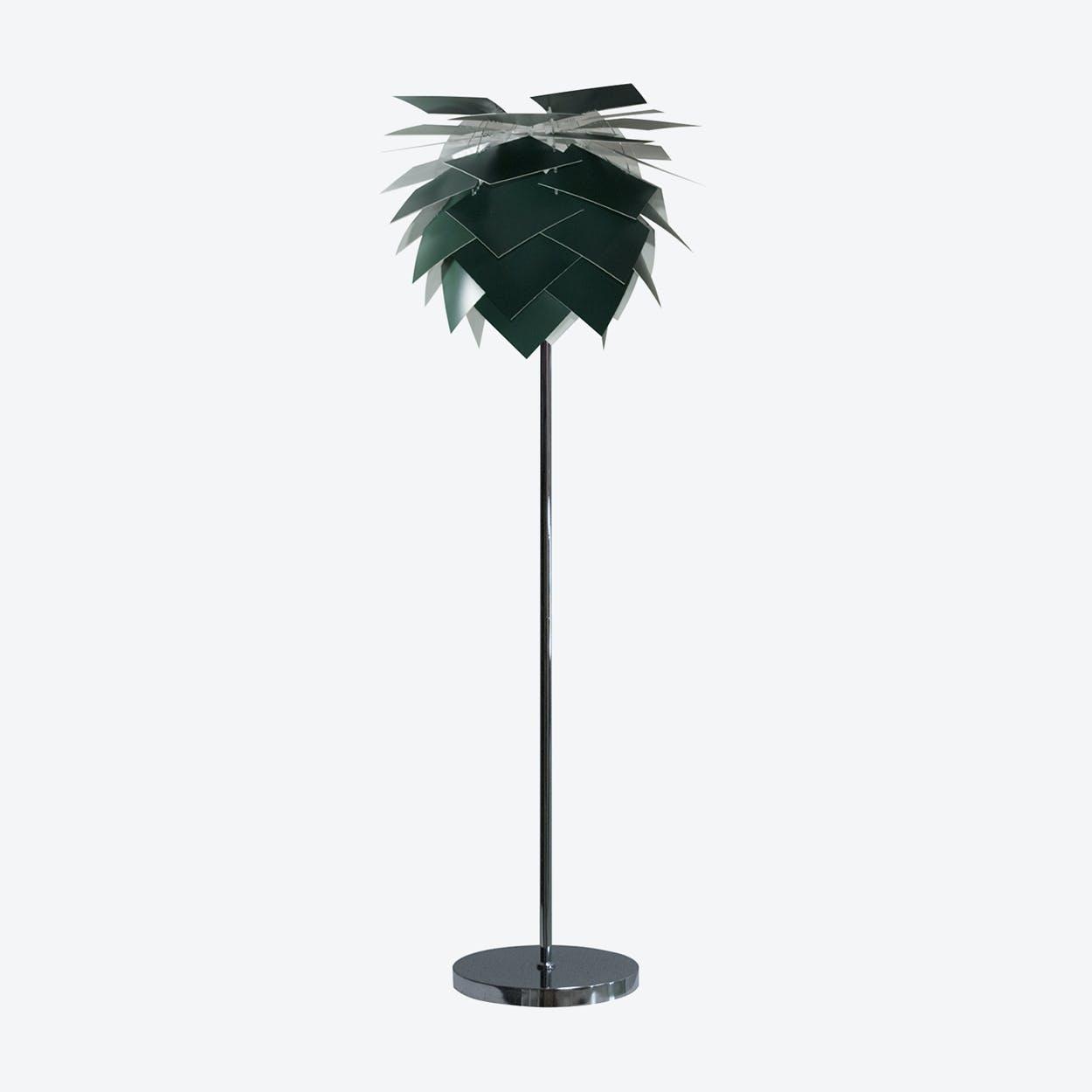 Special Edition Medium Black Dark Green PineApple Floor Lamp in Matte Satin Finish