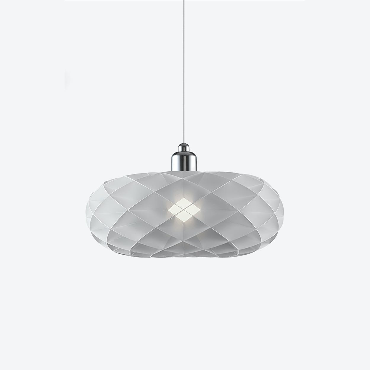 Torus Pendant Lamp with Chrome Top